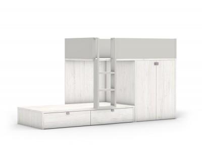 Lit superposé avec armoire et 2 tiroirs