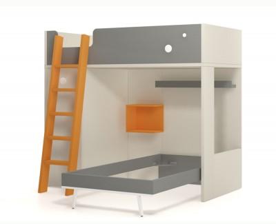 Lit superposé avec armoire amovible
