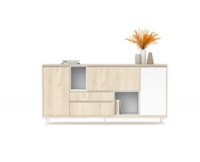 Buffet avec 2 portes battantes, 1 porte rabattable, 2 tiroirs et 2 espaces ouverts