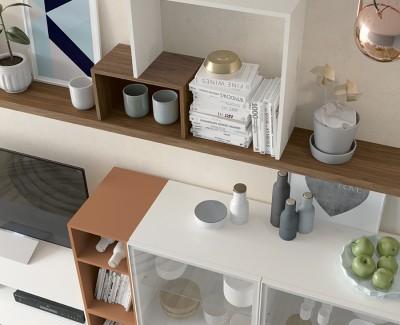 Meuble TV avec tiroir, buffet avec vitrine et tiroir, et étagères