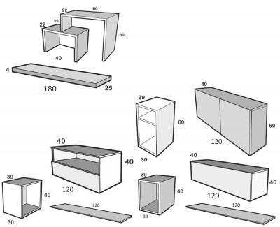 Meuble TV avec tiroir, buffet à portes battantes avec tiroir, et étagères