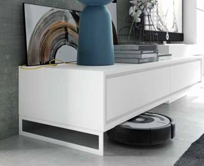 Meuble TV avec 2 tiroirs, meuble à 3 portes et étagère