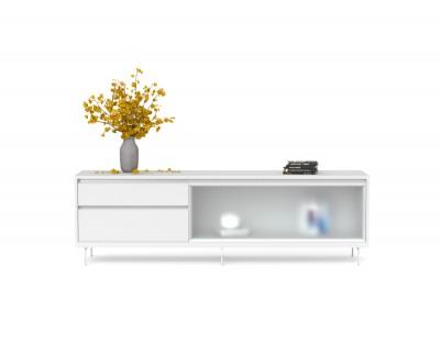 Meuble TV avec porte en verre rabattable et deux tiroirs