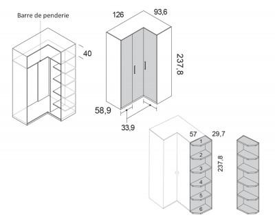 Armoire d'angle avec portes pliantes et meuble de finition avec étagères