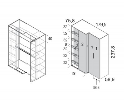 Armoire d'angle avec 2 portes pliantes, 1 colonne coulissante et étagères