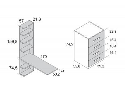 Bureau avec 4 tiroirs et meuble à étagères