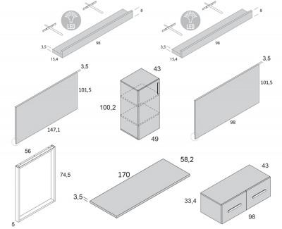 Bureau avec meuble de rangement, tiroirs et étagères porte-revues