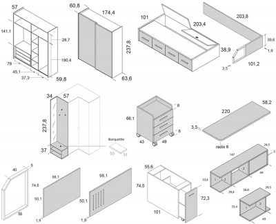 Chambre ado avec lit compact avec tiroirs, armoire, meuble de finition avec miroir, bureau avec caisson à roulettes