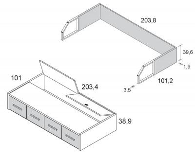 Lit compact avec coffre et 4 tiroirs