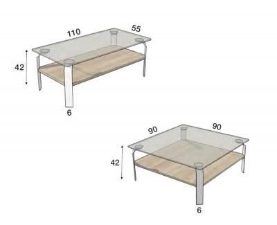 Table basse en verre trempé transparent et pieds métalliques