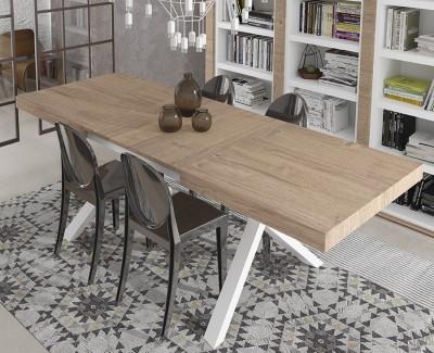 """Table à manger avec 2 rallonges et deux pieds en """"X"""""""