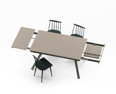 """Table à manger avec 2 rallonges avec pieds métalliques en """"X"""""""