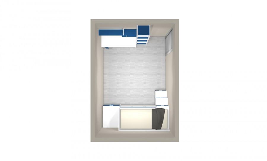 Lit mezzanine avec armoires et bureau aves étagère et bibliothèque