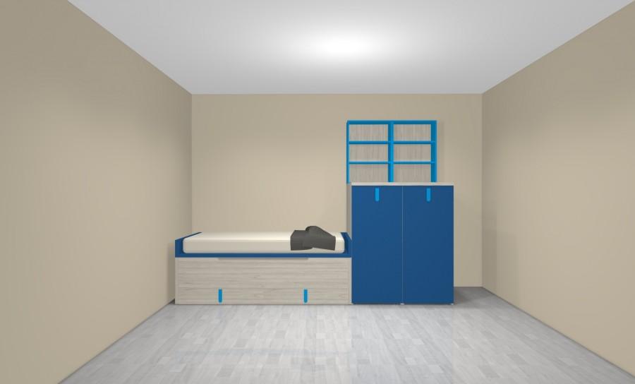 Lit compact avec lit gigogne et 2 tiroirs, et meuble avec bureau et armoire amovible.